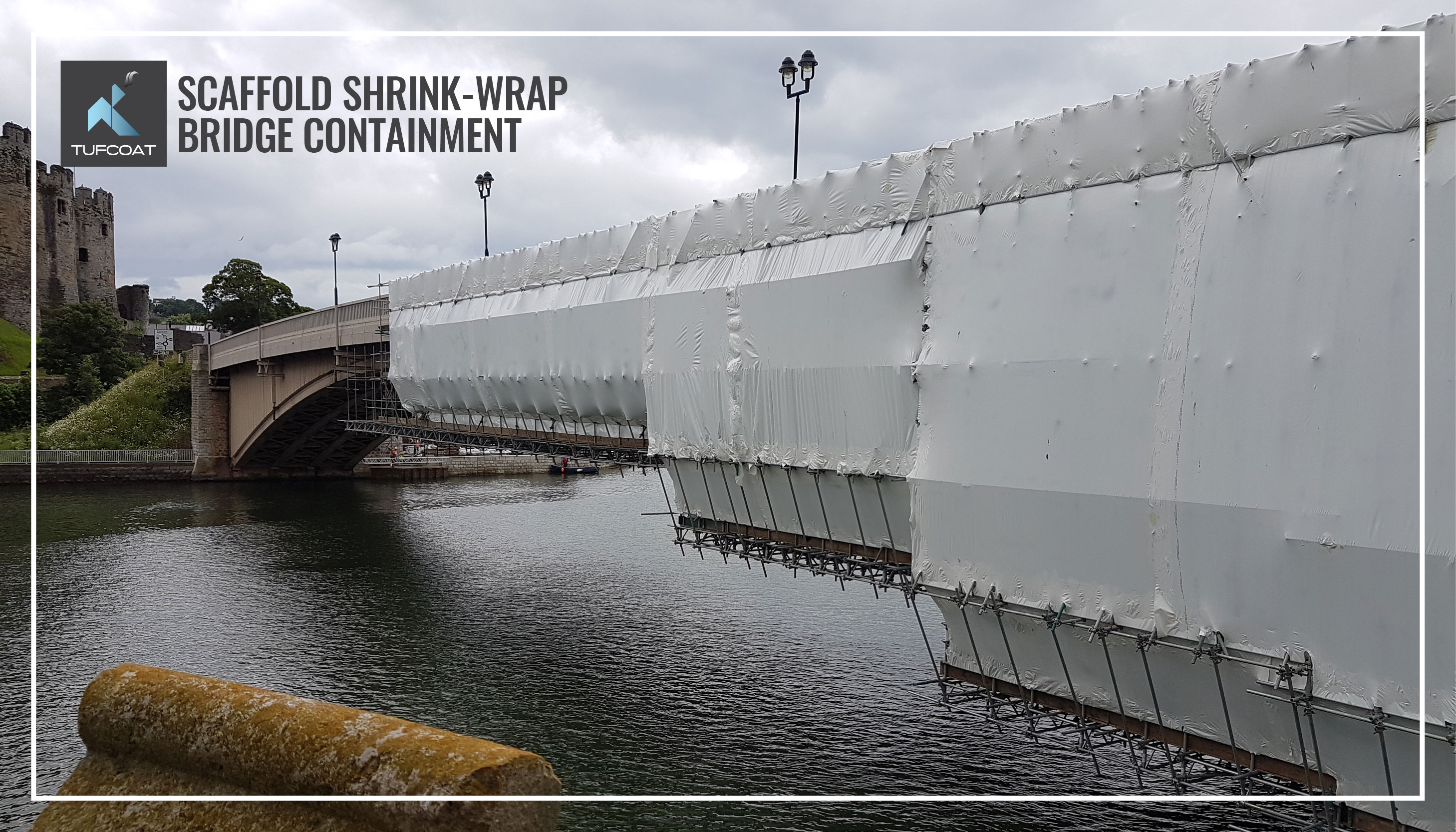 Shrink-wrap covering bridge during renovation works