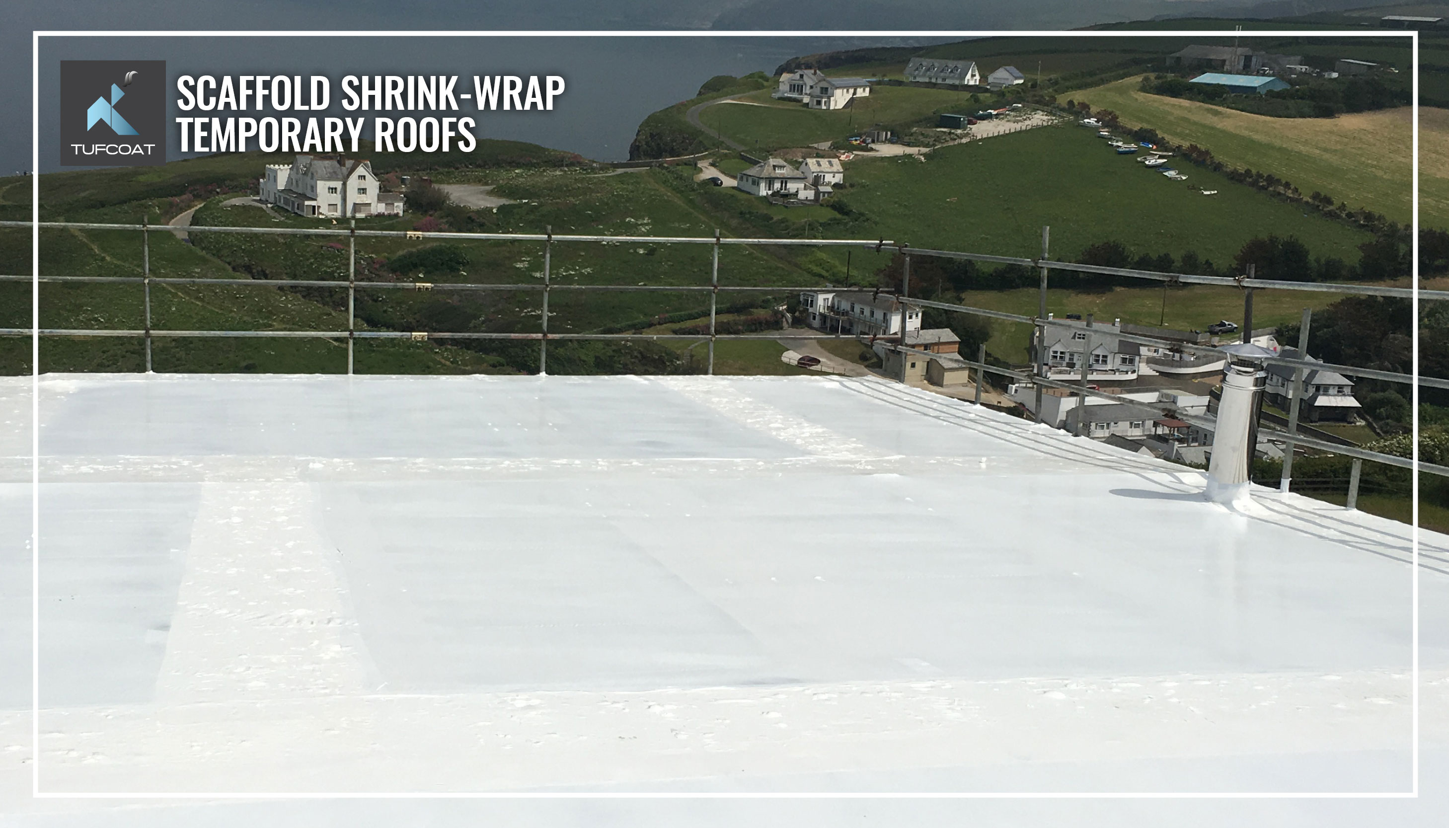 Scaffold temporary roof covered using shrink-wrap
