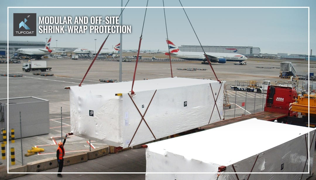 Shrink-wrapped risers part of Heathrow terminal 3