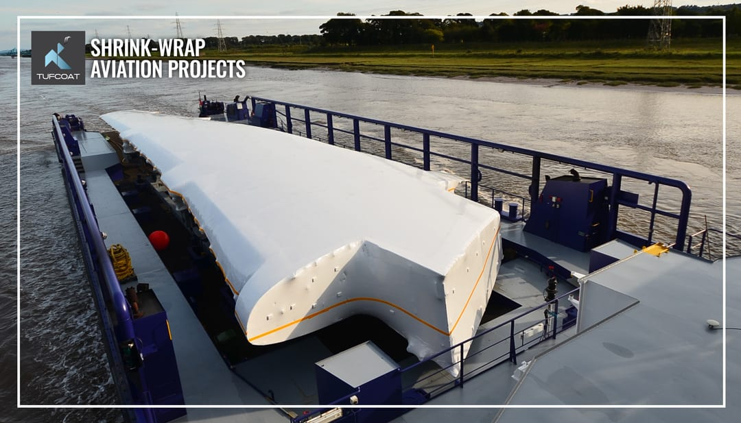 Airbus A380 Wing shrink-wrapped during transport