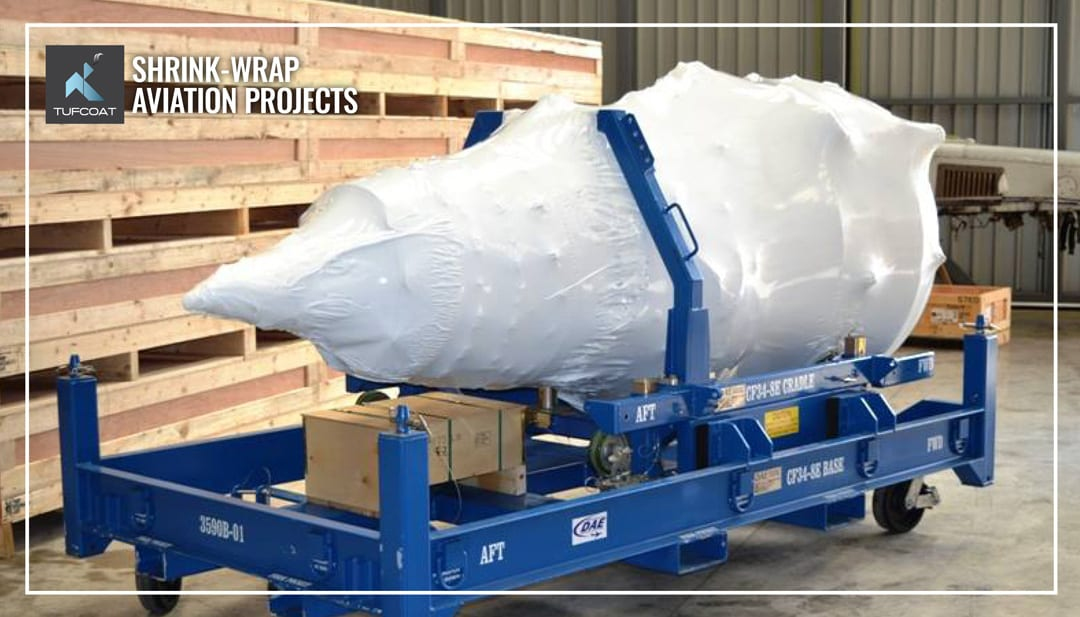 Aircraft engine shrink-wrapped for MRO