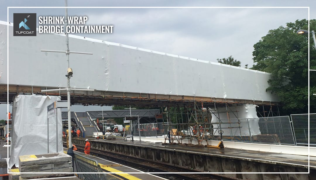 Shrink-wrap covering Twickenham station footbridge during renovation works