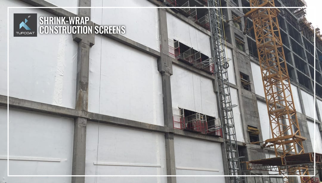 Shrink-wrap construction screens in Kazakhstan RC structure