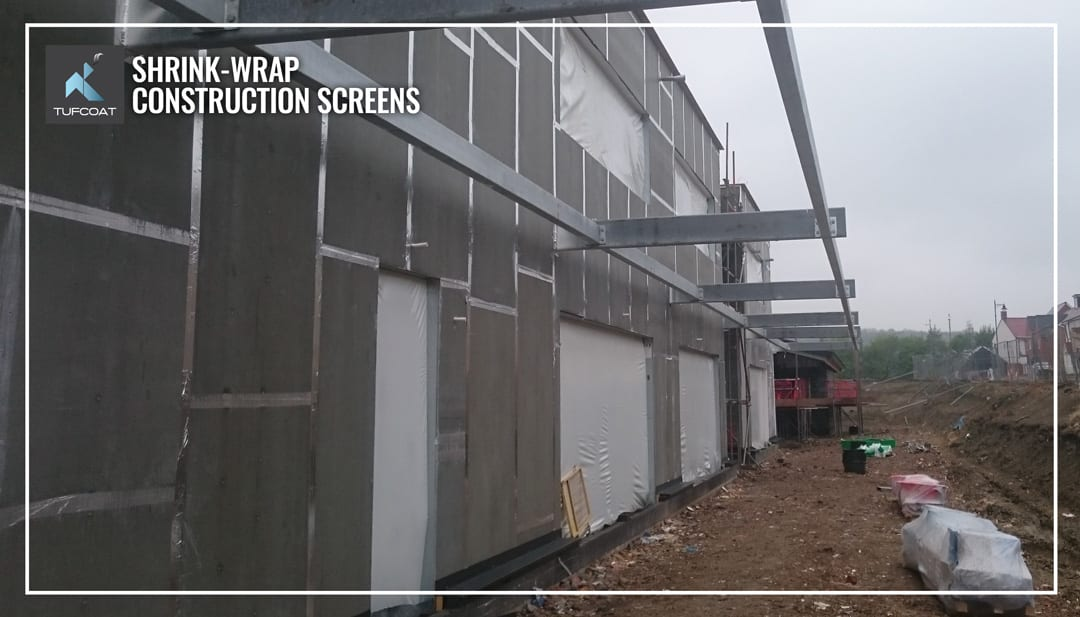 Shrink-wrap construction screens in Manchester RC structure