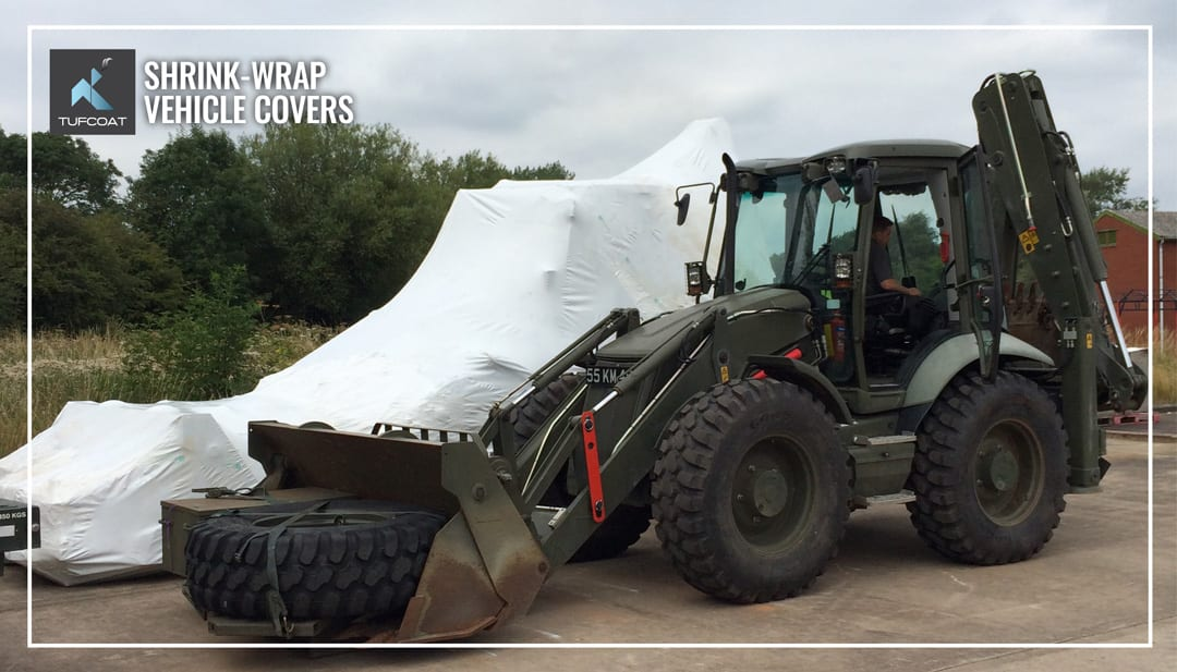 Military JCB shrink-wrapped for long term storage protection
