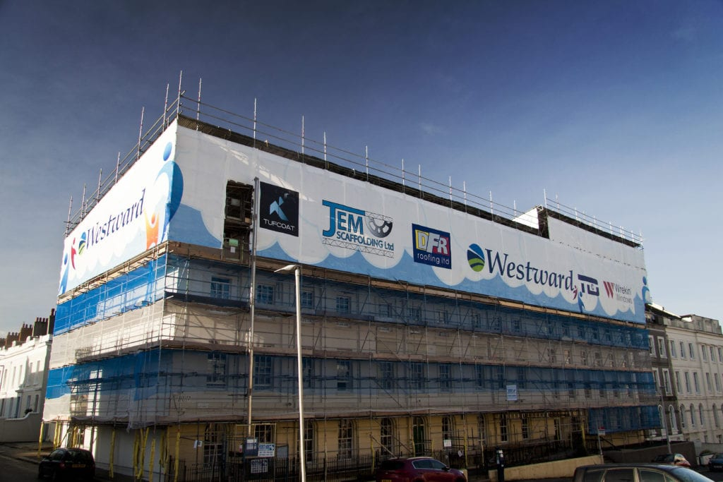 Tufcoat printed shrink-wrap Plymouth House - JEM Scaffolding