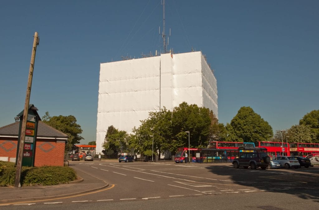 Chatterton Water Tower Scaffold Shrink-wrap