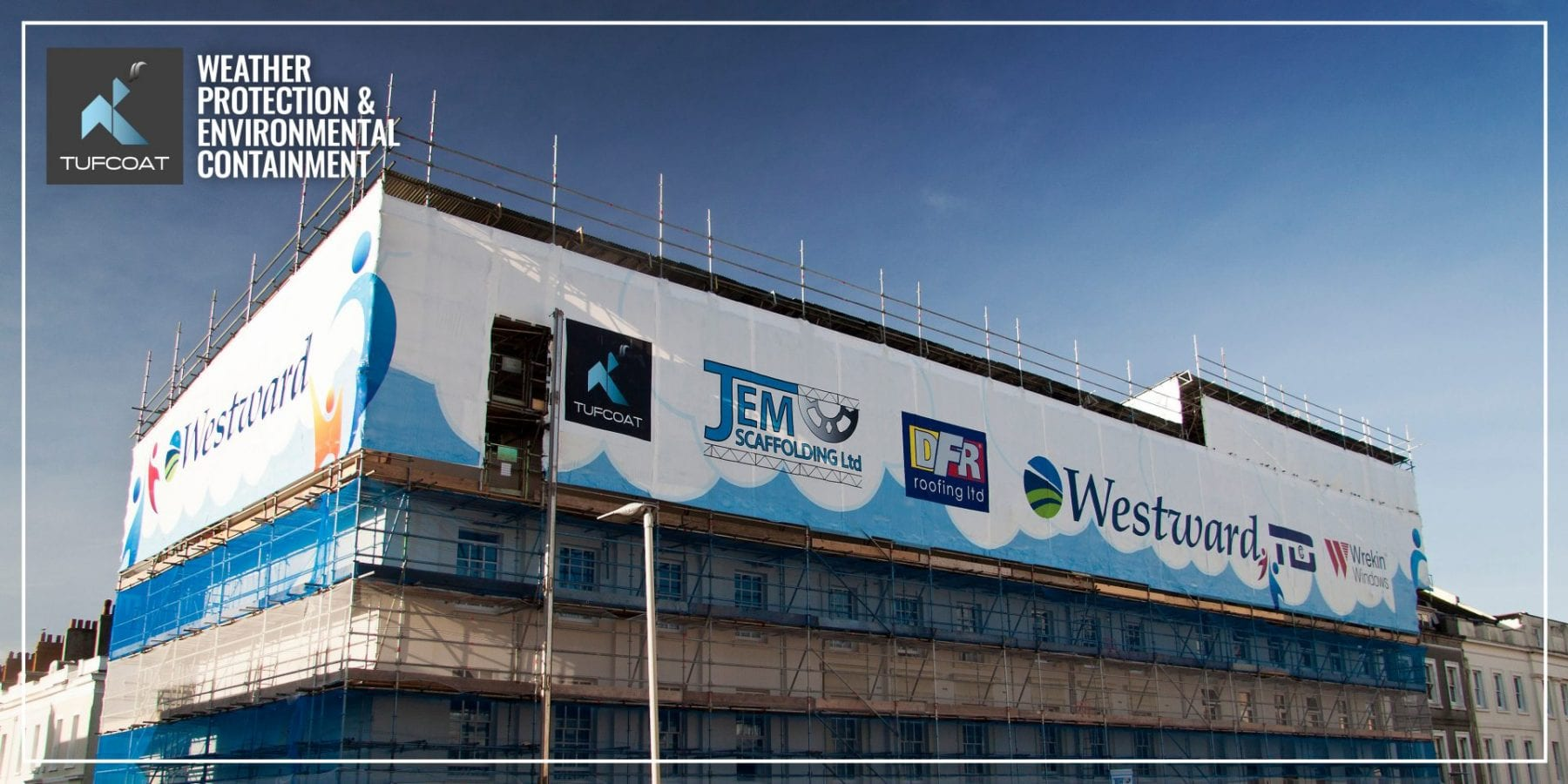 Printed Shrink-wrap Plymouth House Jem Scaffold Westward Housing