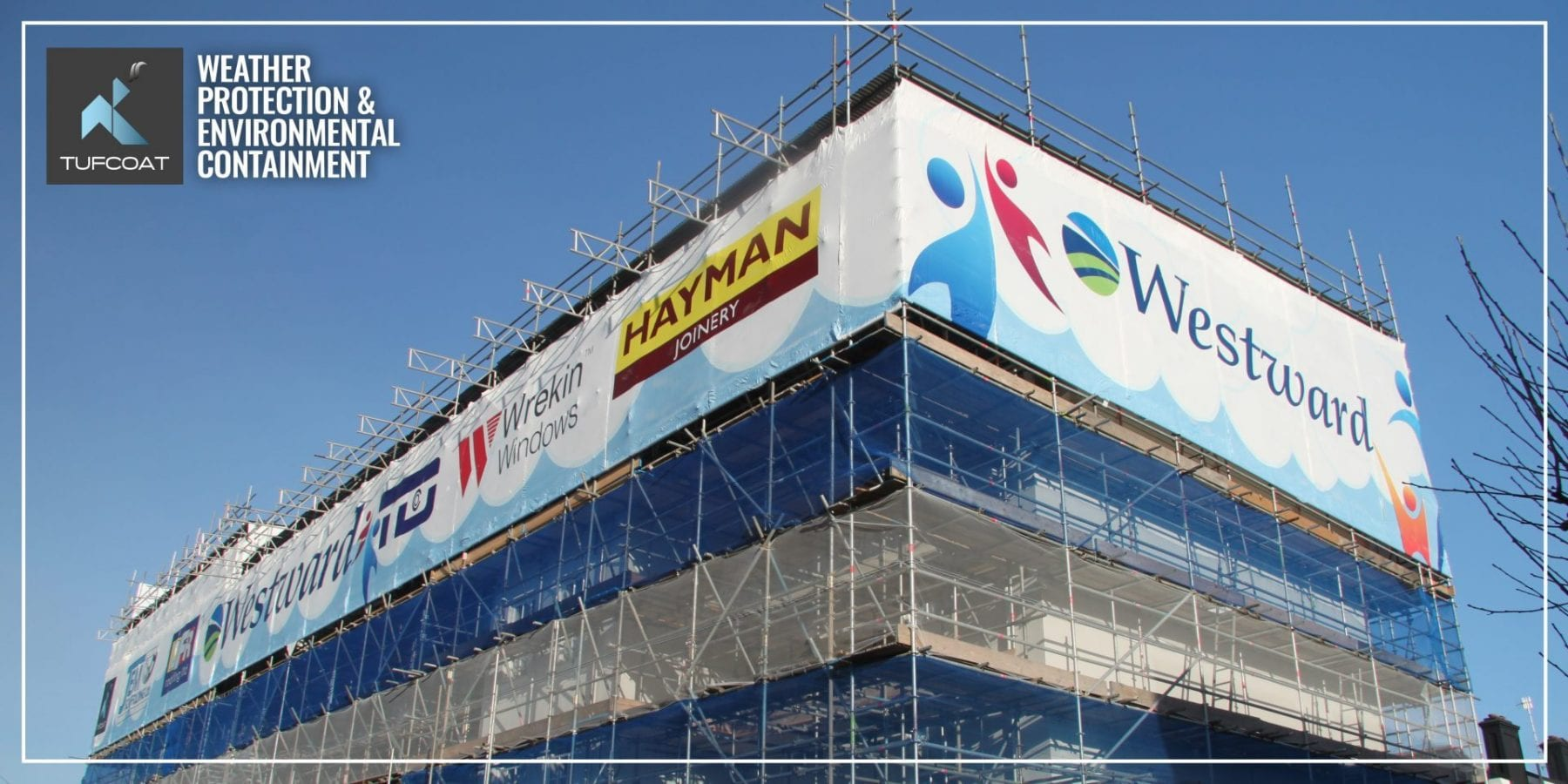 Wraphix™ printed shrink-wrap installed around upper scaffolding lift on Plymouth House for NASC members JEM Scaffolding in 2016