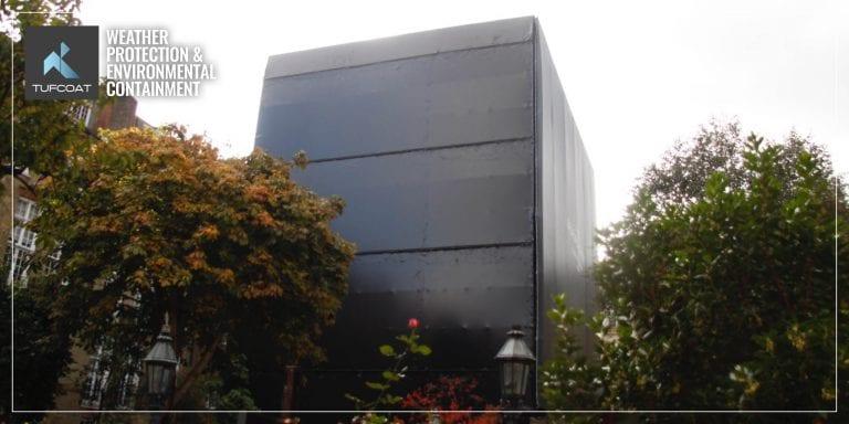 Black scaffold shrink-wrap