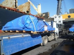 Tarpaulin used to protect units being transported