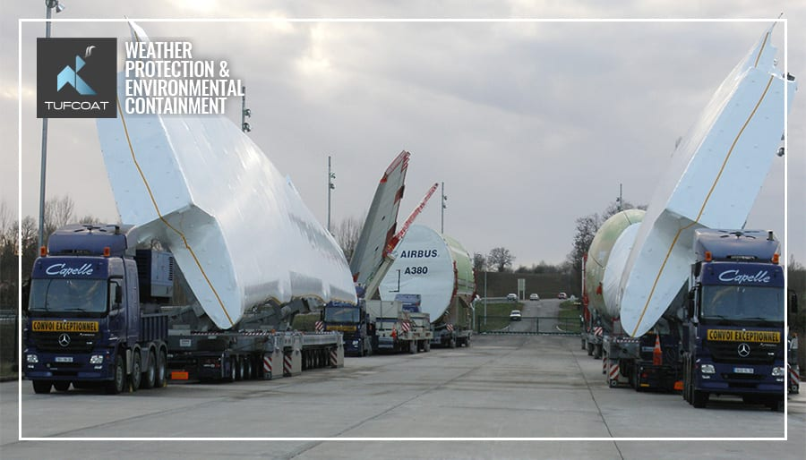 Airbus A380 custom shrink-wrap covers for transport protection